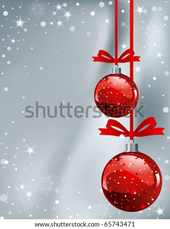 Vector Christmas Background with balls and snowflakes