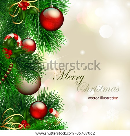 Vector christmas background with decorated christmas tree on shiny background
