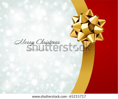 Vector Christmas background with gold ribbon - stock vector