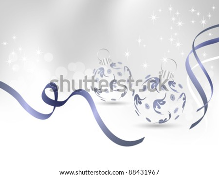 Vector Christmas background with light silver grey to white backdrop gradient, shiny blue ribbons and Christmas balls