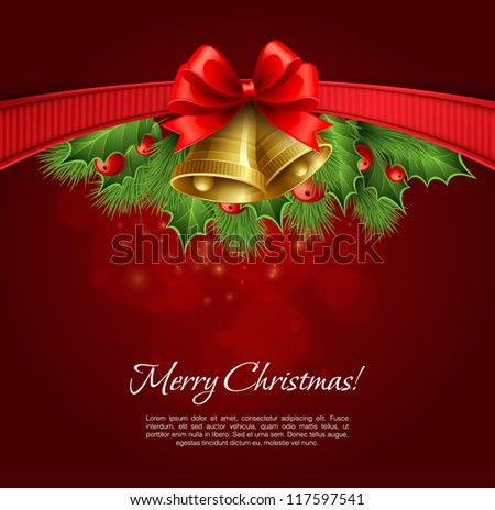 Vector christmas background with ribbon bow holly and bell