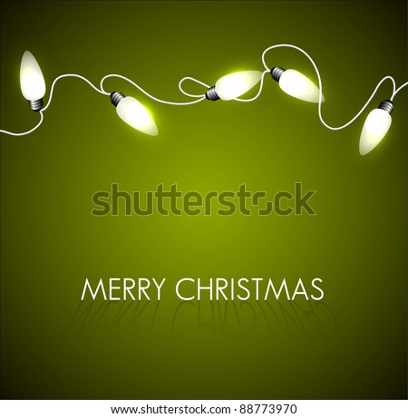 Vector Christmas background with white christmas chain lights on green