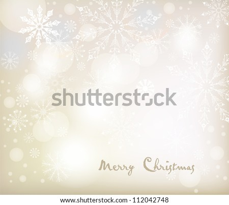 Vector Christmas background with white snowflakes. Vector design