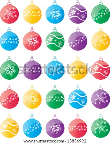 Vector Christmas ball decorations with snowflake motif