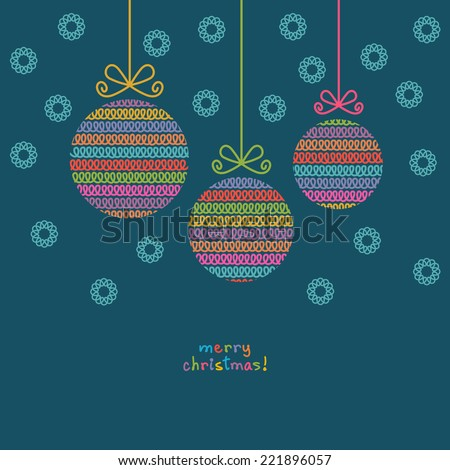 Vector christmas ball of doodle knitted shapes. Greeting, invitation card with decoration. Simple illustration for print, web