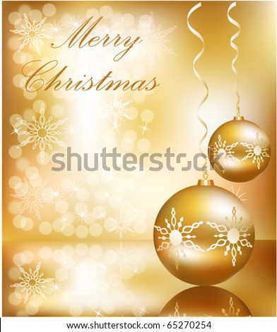 Vector Christmas ball on abstract golden lights background