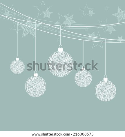 Vector Christmas balls on a blue background