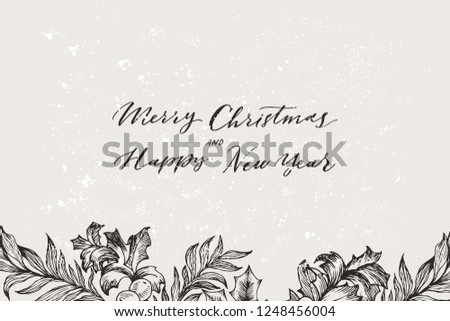 Vector Christmas banner with conifers illustration. Vintage invitation or greeting card with hand drawn spruce branch, pine, fir, juniper tree. Merry Christmas and Happy New Year lettering template.