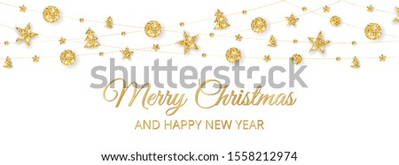Vector Christmas banner with decorations. Merry Christmas and Happy New Year text. Golden ornaments on white background. Holiday frame, border. Glitter garland for celebration headers, party posters.
