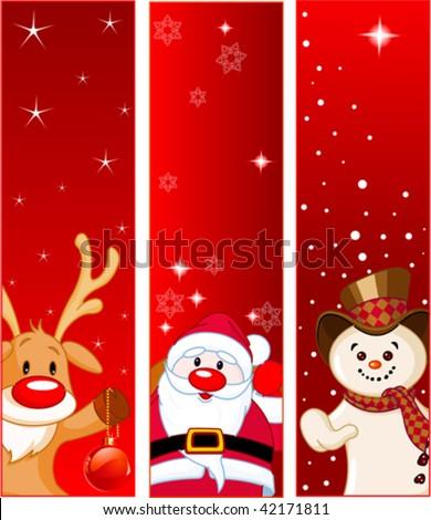 Vector Christmas Banners with snowmen, Santa and Rudolf