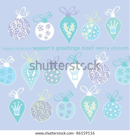 Vector Christmas bauble cards