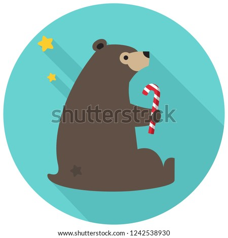 vector christmas bear icon with