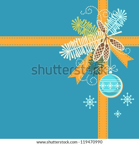 Vector christmas blue background. Invitation, greeting card with stylized branches of christmas tree, cones, orange ribbon, christmas ball. Simple holiday illustration with text box. Concept of gift