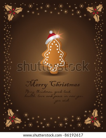vector Christmas card chocolate gingerbread tree congratulations template background