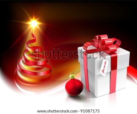 Vector Christmas card design with various 3d  graphic elements: gift - box, Christmas - ball, swirling, and lighting tree