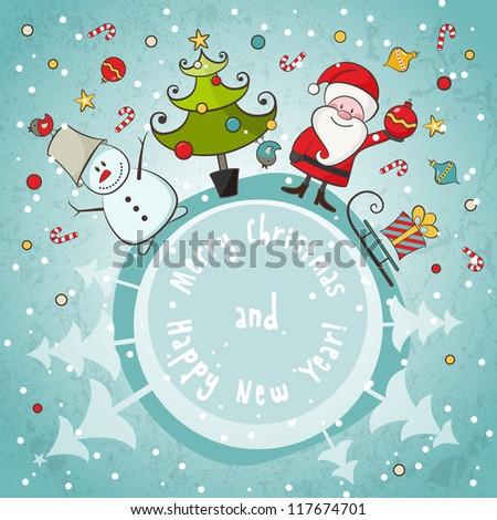 Vector Christmas card. EPS 8 vector illustration for Christmas design.