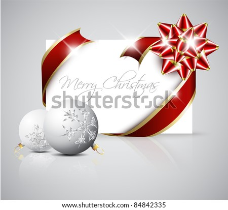 Vector Christmas card - red ribbon around blank paper with christmas decorations