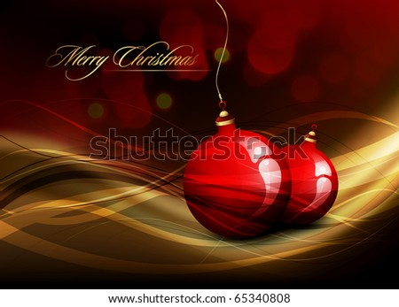 Vector Christmas Card | Shiny Golden Decoration