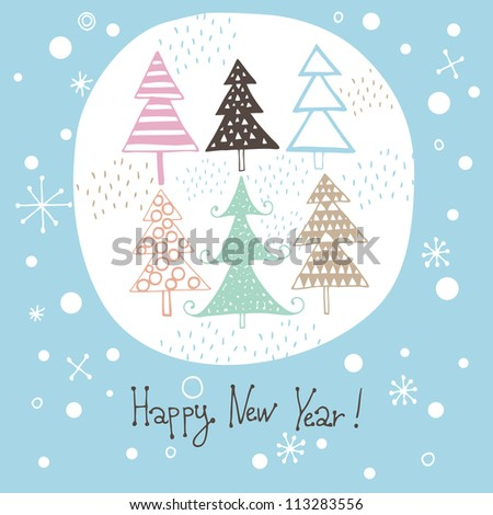 Vector christmas card with christmas trees - stock vector