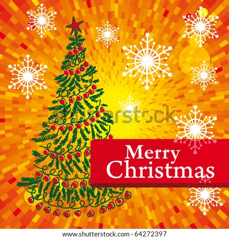 Vector Christmas Card With Green Tree Red Merry