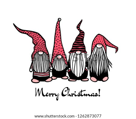 Christmas Gnomes Clipart.Free Drawn Gnome Vector Illustration Download Free Vectors