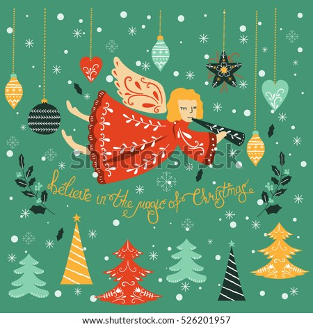 Vector Christmas card with lettering and angel . Vector design for greeting cards and invitations.