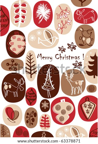 vector - christmas card with nice hand drawings