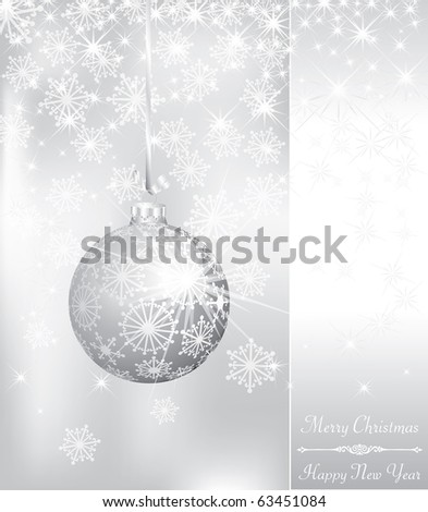vector Christmas card with silver ball on silver background
