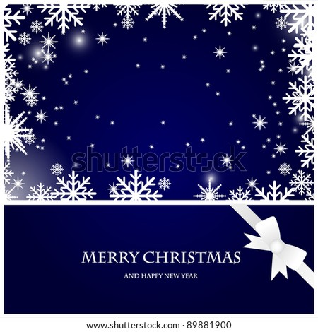 vector christmas card with snowflakes and bow on the dark blue background