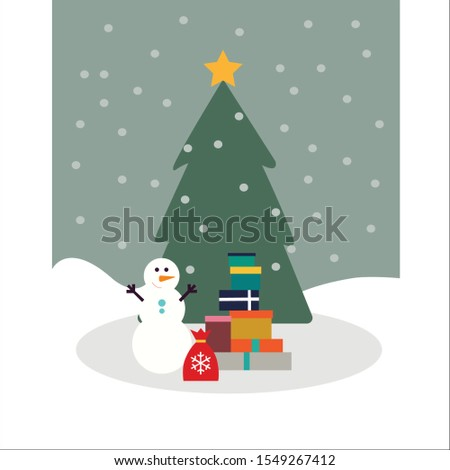Vector Christmas card with snowman, Christmas tree and gifts.