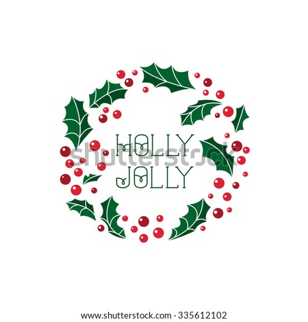 Vector Christmas card with wreath. Perfect design for posters, flyers,  banners, cards. Xmas design.