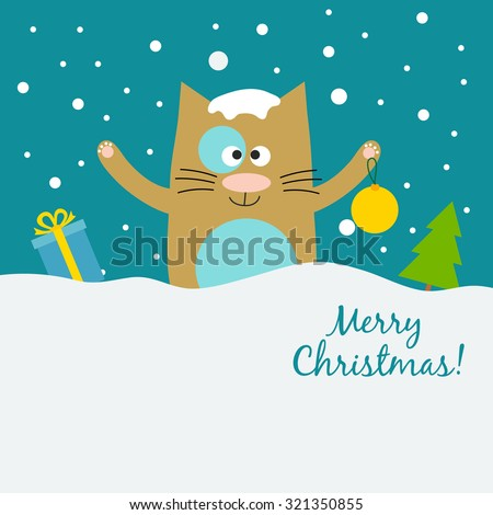 vector christmas cat concept