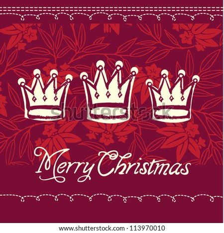 Vector Christmas crowns greeting card