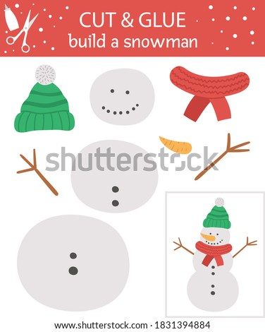 Vector Christmas cut and glue activity. Winter educational crafting game with cute snowman. Fun activity for kids. Build a snowman worksheet for children.