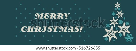 Vector christmas decorating design made of snowflakes. Colorful card template with copy space. Vector illustration abstract Christmas Background. A Christmas tree made from snowflakes. #516726655