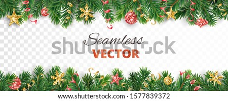 Vector Christmas decoration isolated on white background. Seamless holiday border, frame with gold and red ornaments. Pine tree branches. For celebration banners, headers, posters.