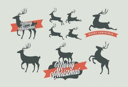 Vector christmas deer collection. Six running, jumping and standing poses. Plus three sample Merry Christmas badges with the raindeer silhouettes. Nice seasonal design and decoration elements.