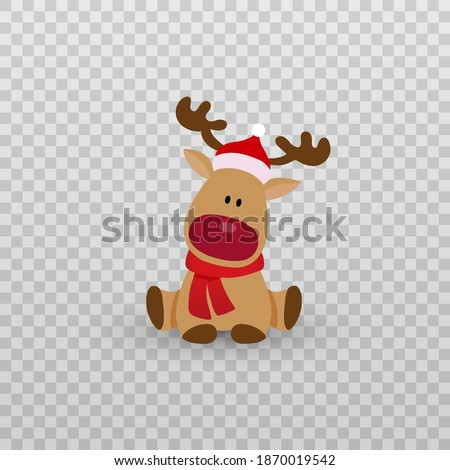 Vector Christmas deer. Deer, animal png. Christmas beast png. New Year's lectures. Deer in a New Year's hat and a red scarf. The deer is sitting.