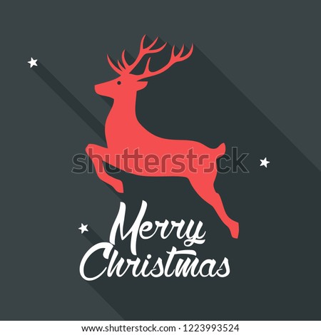 Vector Christmas deer icon. New year illustration in flat style. Text: Merry Christmas.