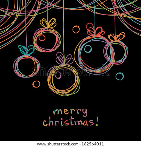 Vector Christmas doodle background Christmas balls in hand drawn childish sketch style Invitation greeting black decorative card Abstract linear color illustration with text box