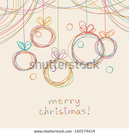 Vector christmas doodle background Cute christmas balls in hand drawn childish sketch style Invitation and greeting decorative card Abstract simple winter holiday linear illustration with text box