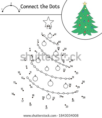 Vector Christmas dot-to-dot and color activity with cute fir tree. Winter holiday connect the dots game for children. Funny coloring page for kids with traditional New Year symbol.