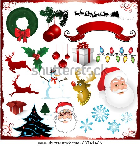 Vector Christmas elements isolated on white