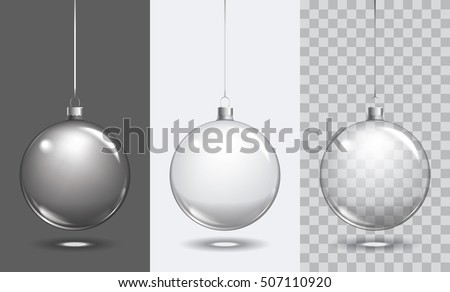 Vector christmas glass ball on transparent background. Xmas ball decoration template can use any color background