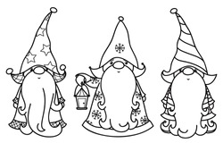 Vector  Christmas gnomes cartoons, black  silhouettes  isolated on white.