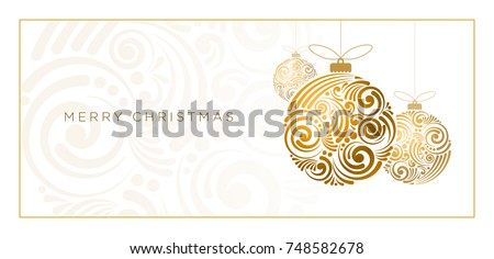 Vector Christmas greeting card design. Abstract swirl Christmas ball on white background. #748582678