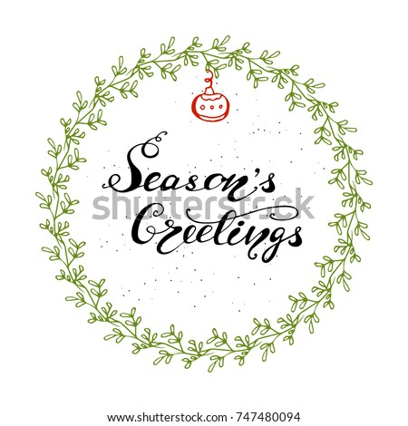 "Vector Christmas Greeting Card design with lettering ""Season's Greetings""."