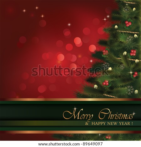 Vector Christmas greeting card. No transparency used. Christmas fluffy tree with natural ornaments and red bokeh background. Background is in its separate layer and can be used on its own.