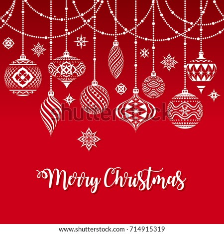 Vector Christmas Greeting Card with a texture of Typical Christmas ornaments illustration over a groovy Merry Christmas Text