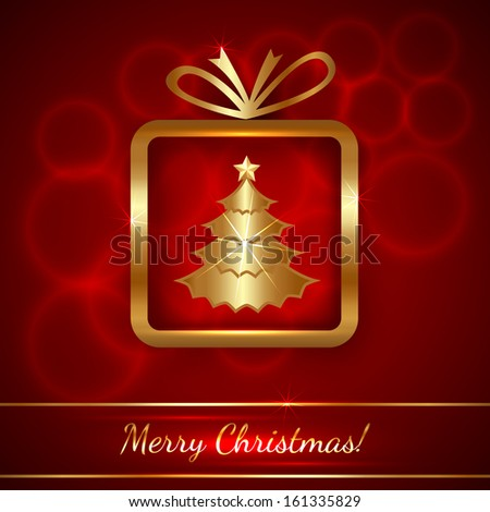 Vector Christmas Greeting Card with Golden Gift on Red Background